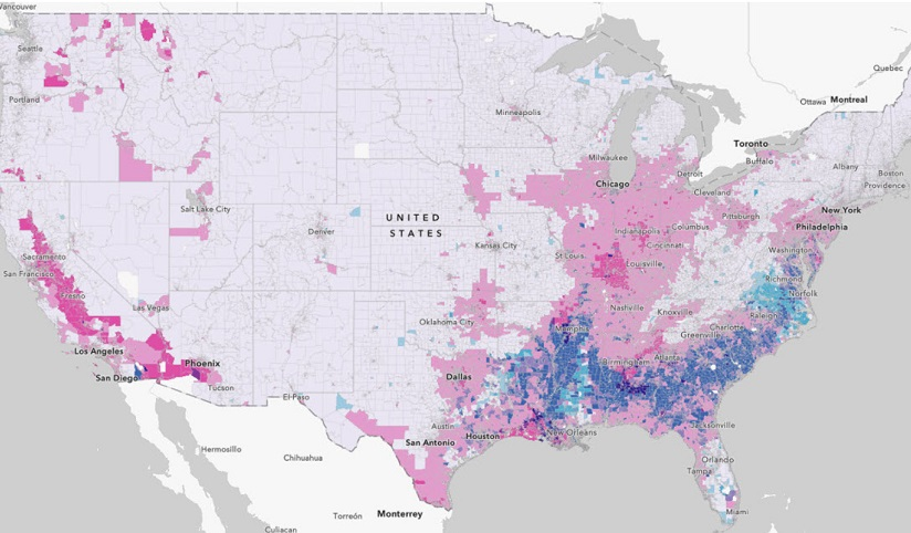 A map of the continental United States that highlights higher pollution areas across the country
