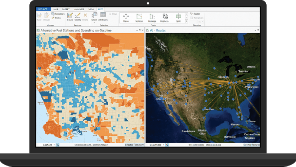 Monitor showing Web AppBuilder on a split screen with ArcGIS Online