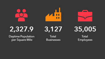 Infographics showing daytime population, total businesses, and total employees