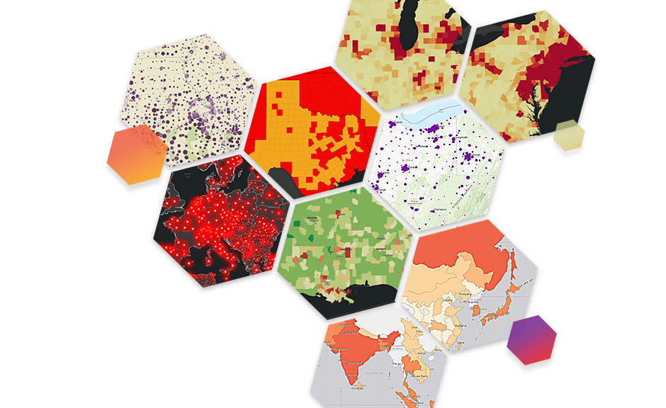 Colorful map hexagons with varying scenes