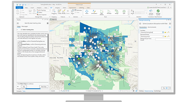 A COVID-19 testing site map being created in ArcGIS Pro