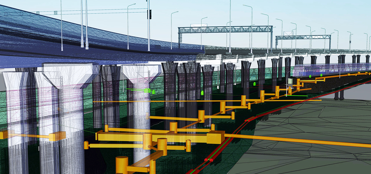 A virtual digital twin of a bridge construction project and related infrastructure