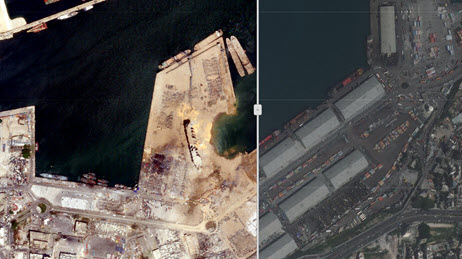 Before and After Imagery - Beirut Port Explosion