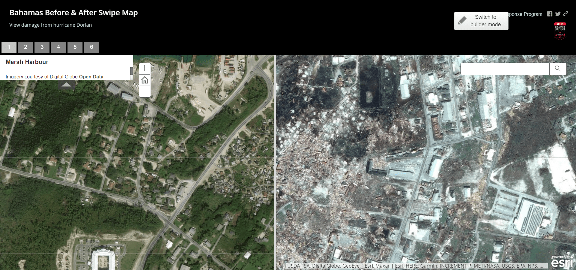 Bahamas Before & After Swipe Map