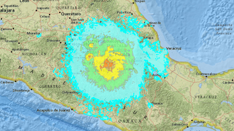 Map of the area around Puebla, Mexico showing different colors to represent the earthquake's impact