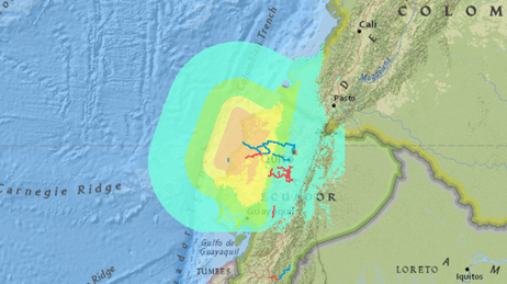 Map of the earthquake off the coast of Muisne, Ecuador using different colors to represent the impact
