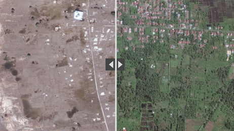 Aerial photo divided into two halves showing an area before and after a tsunami
