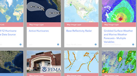 Hurricane maps and layers gallery for hurricane response