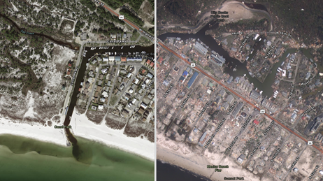 Before and after images from Hurricane Michael