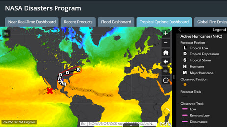 NASA Disasters Program Tropical Cyclone Dashboard