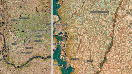 Satellite photo divided into two halves showing an area in Nebraska before and after the flood