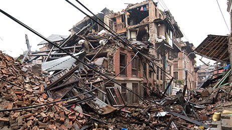 Building remains and debris following an earthquake