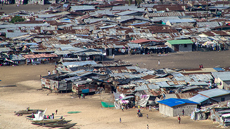 Aerial view of a refugee camp