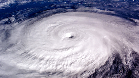 Aerial view of a hurricane