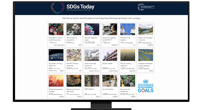 "a webpage that says ""SDGs Today"" and has photos on it"