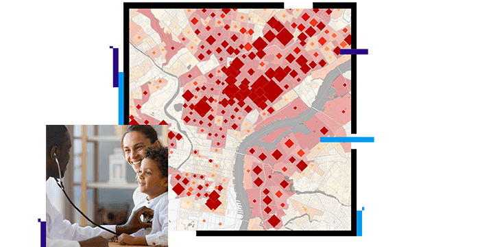 doctor listening to child's heart with a stethoscope and a map with red squares on it