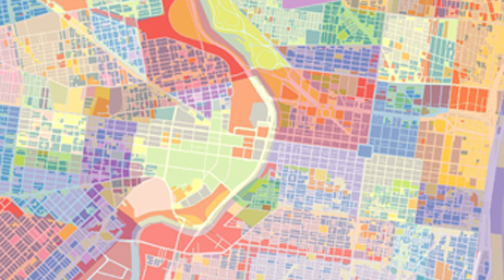 Colorful map of city blocks