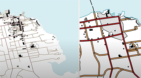 Screenshot of a play button over map of part of San Francisco