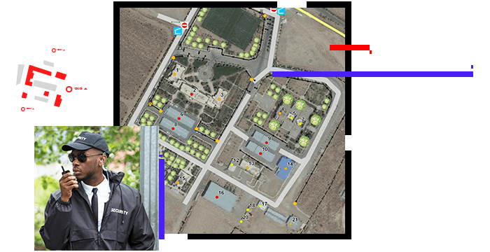 Security officer communicating with a radio, and an aerial view of a building complex