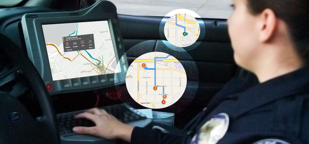 Officer in vehicle using navigation apps