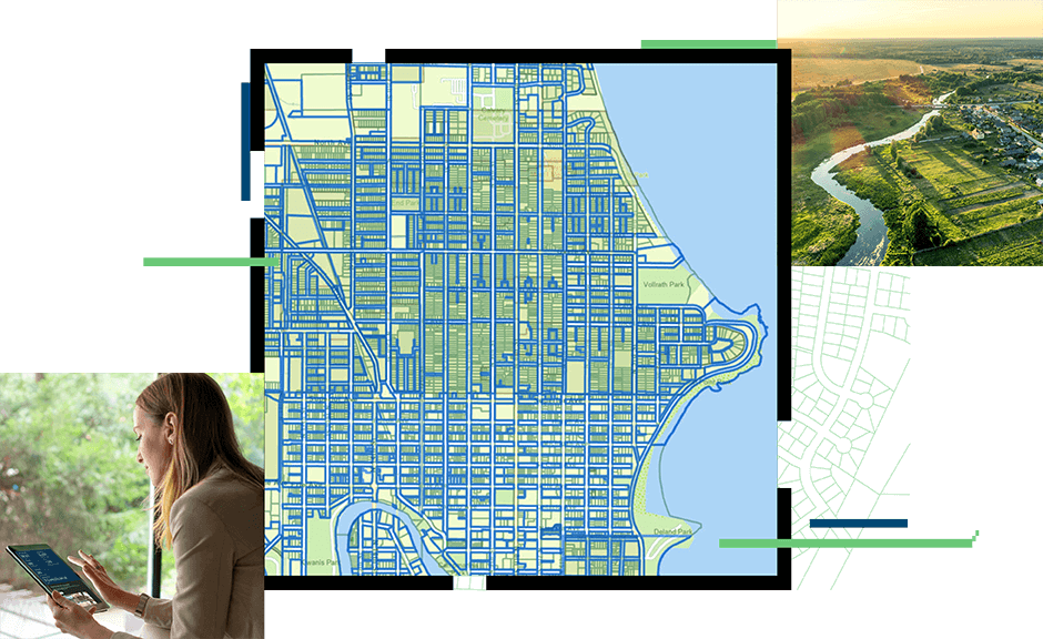 Woman looking at a tablet. Blue and green map of streets and parcels along water