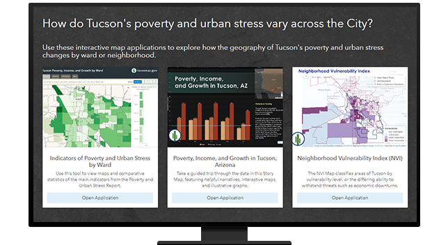 Maps showing poverty and urban stress in Tucson