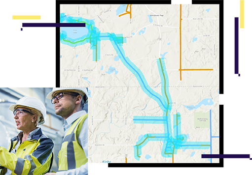 map with blue lines, two people wearing hard hats