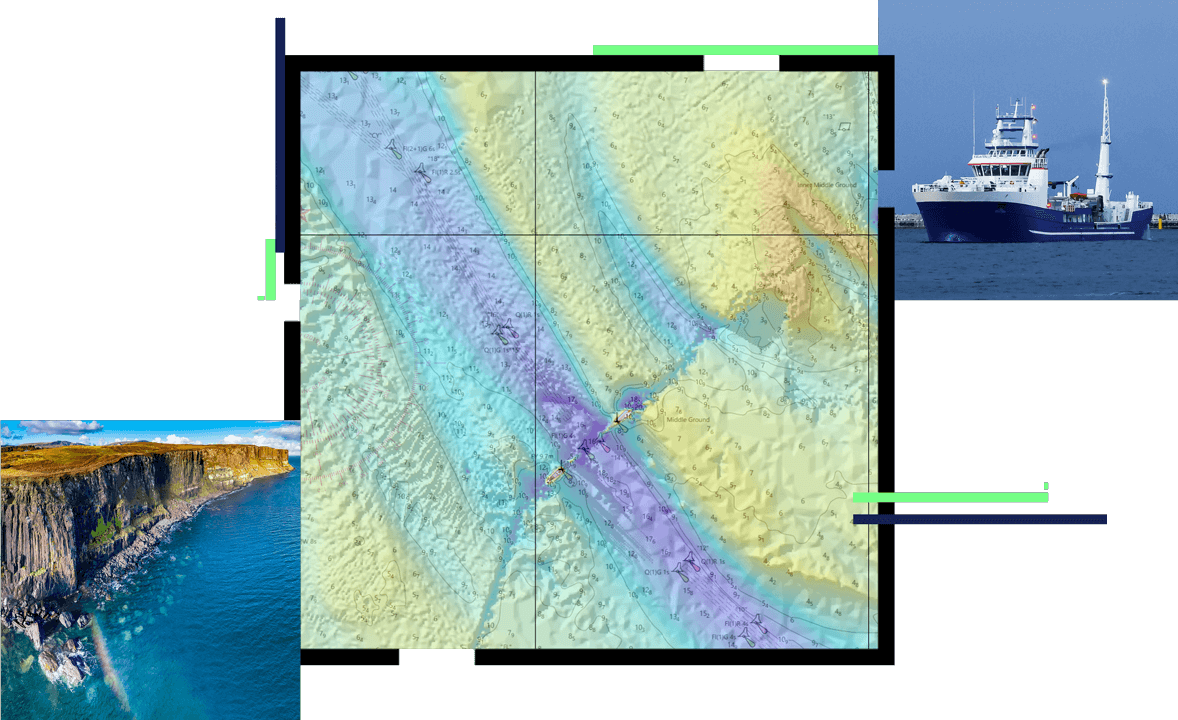 A purple, blue, and tan topographic map with numbers marking it enclosed in a square, surrounded by two square images of a ship and a high cliff overlooking the ocean