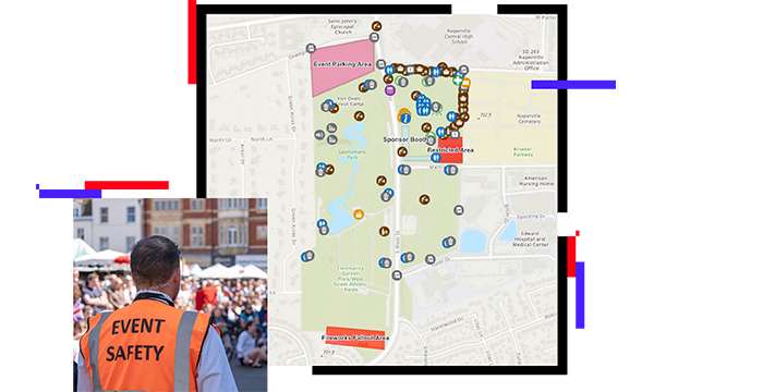 Special event site map and photo of event safety staff member looking out over a crowd