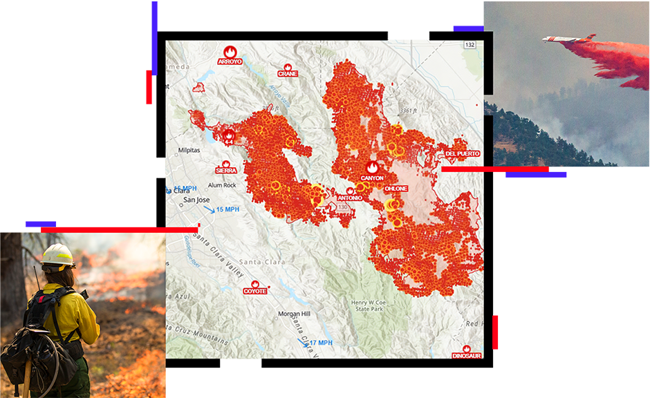 A map showing fire locations in California, a plane dropping red fire retardant, and a firefighter standing near a fire line