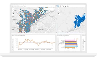 Screenshot on monitor of spatial analytics workbench, or dashboard