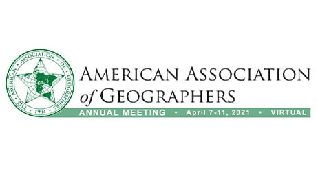 The logo for the American Association of Geographers Annual Meeting, held virtually April 7-11, 2021