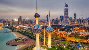Colorful cityscape of Kuwait lit up at night