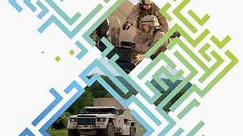 Image of military men and their HUM-V unit under an overlay of colorful green and blue digital art