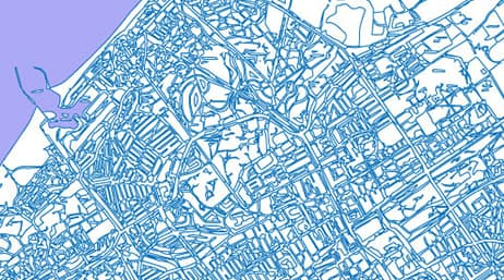 A blue and white map of a city