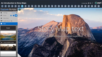 "Photograph of Half Dome Peak in Yosemite at sunrise with a text overlay that reads, ""Story map text"""