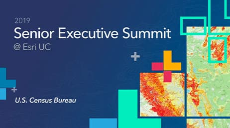 "Colorful graphic design next to the text, ""Senior Executive Summit"""
