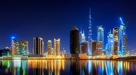 City buildings on the coast of the United Arab Emirates at night