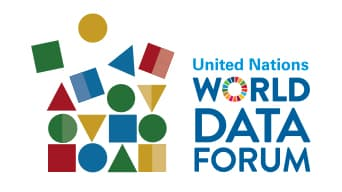 Colorful graphic design of shapes next to text that reads, 'United Nations World Data Forum'