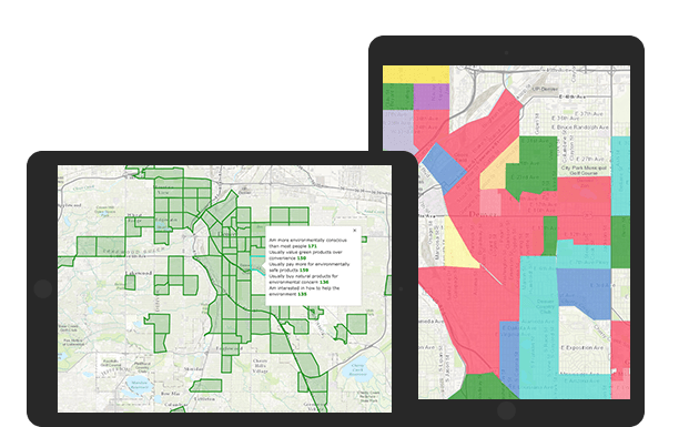 Two tablets showing a map with overlaid customer data