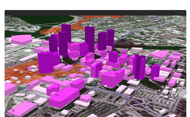 screenshot of 3d city using spatial analysis