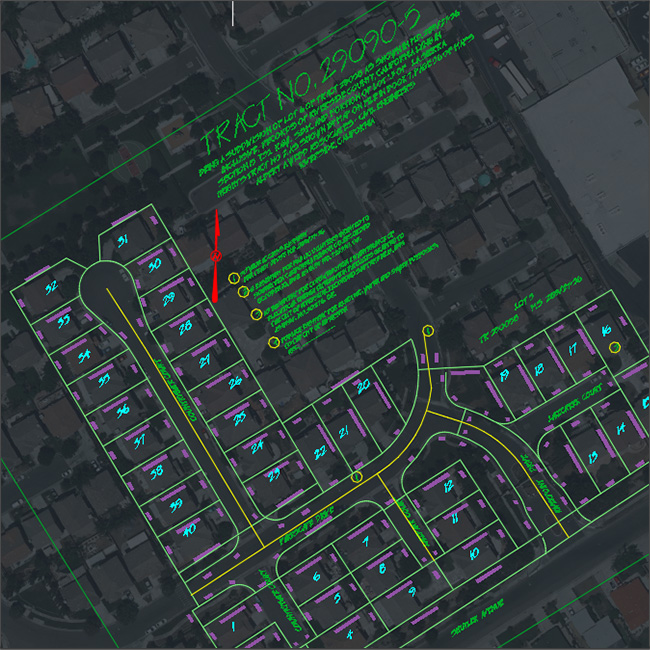 Screenshot of edting GIS data created within AutoCAD