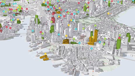3-D digital schematic of a metropolitan city.