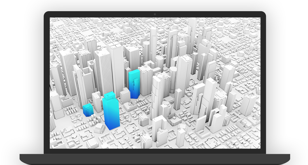 Gray 3D digital render of a city with select buildings in the color blue