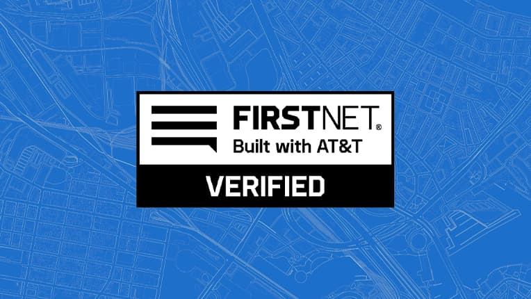 "Black and white logo for FirstNet on a blue background which reads, ""FirstNet, Built with AT&T, Verified"""