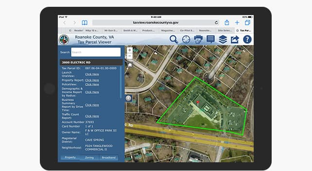 Roanoke County's Tax Parcel Viewer offers a map-based view of tax parcel information.