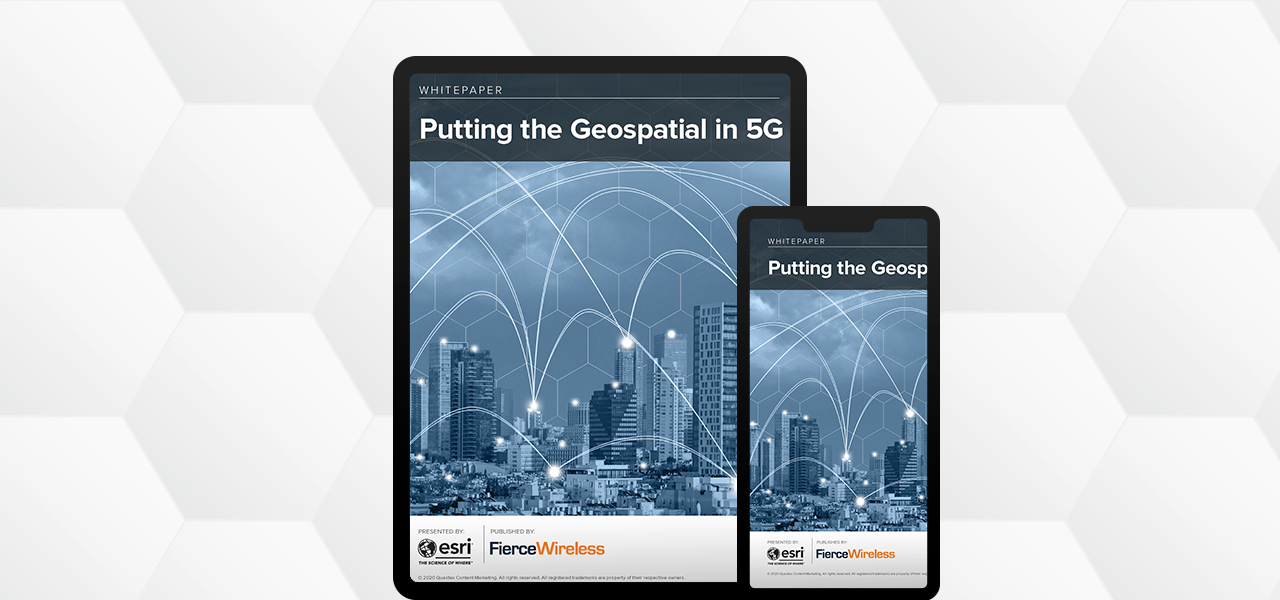 "Image of a tablet and a cell phone displaying an Esri Whitepaper that reads, ""Putting the Geospatial in 5G"""