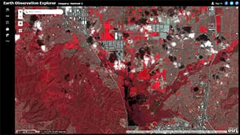 "Landsat satellite image with a ""color infrared with DRA"" rendering applied."