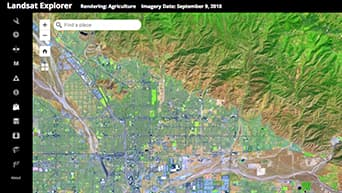 Landsat satellite image of Redlands, CA showing a rendering of agriculture.