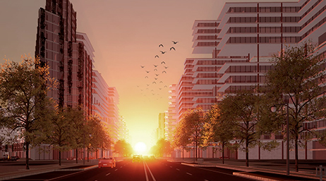 Sunrise over a city street with office buildings and birds in the sky